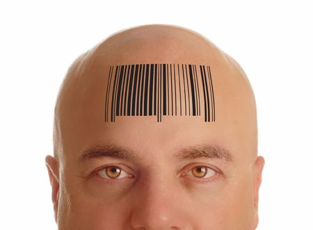 bald head: man with bald head stamped with a bar code - identity