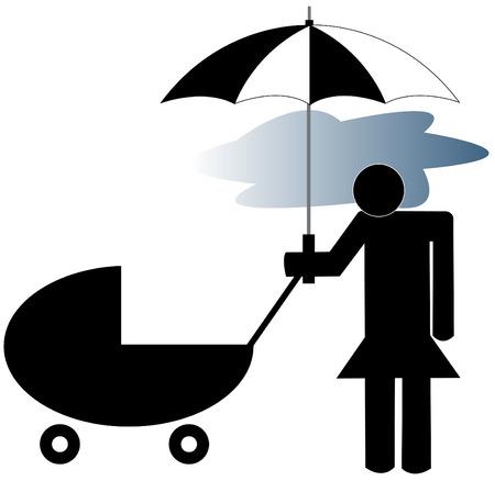intense: depressed mother pushing stroller - post partum depression