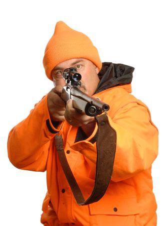 hunter pointing rifle in blaze orange gear Stock Photo - 3606798