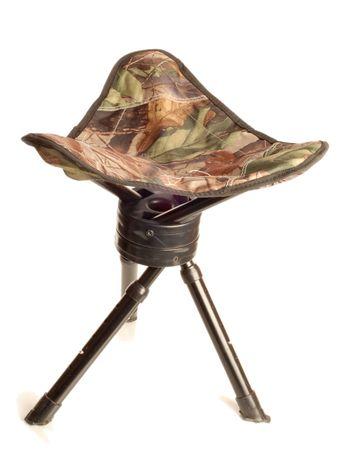 tripod camouflage hunting stool isolated on white background Stock Photo - 3606804
