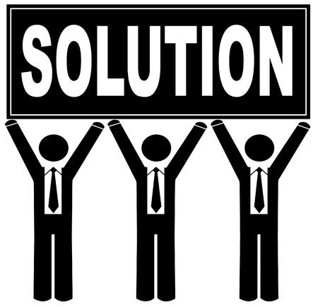that: group of men holding sign up that says solution Illustration