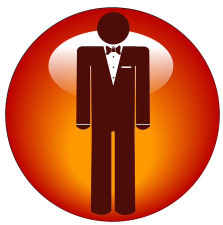 man wearing tuxedo icon or web button  Stock Vector - 3632116