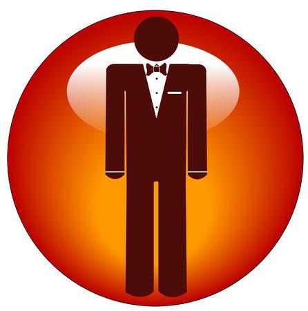 man wearing tuxedo icon or web button  Vector