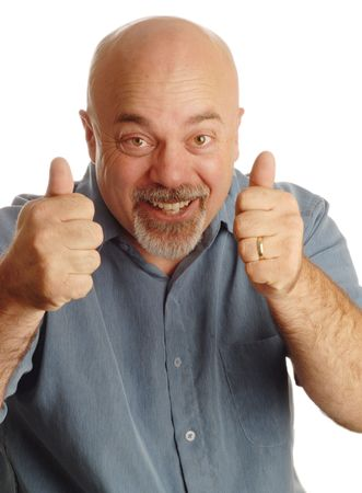 middle age bald man giving thumbs up with happy expression photo