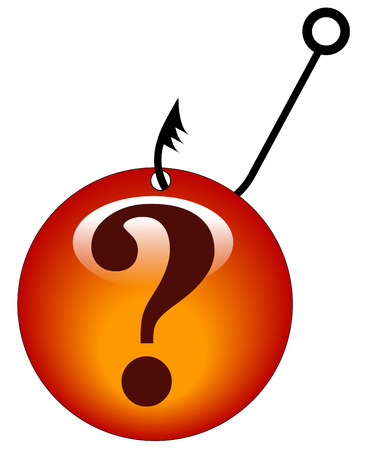 looking for answers - question mark snagged by a fishing hook Vector