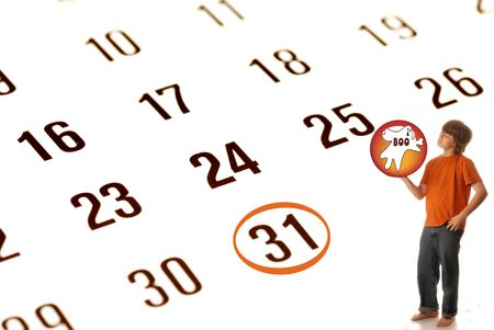 thirty: seasonal halloween calendar with confident boy