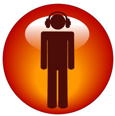 soloist: man wearing headphones button or icon - illustration