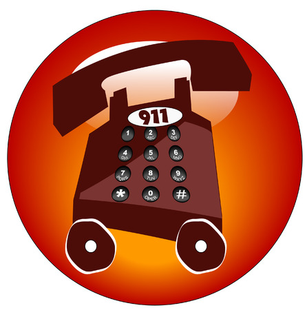 emergency telephone with 911 button or icon