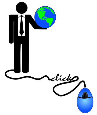 internationally: concept of doing e-business internationally - business man holding globe connected to computer mouse Illustration
