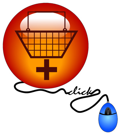 shopping basket with plus sign connected to computer mouse - add to cart Vector
