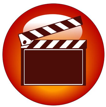 flick: red movie clapper board web icon or button