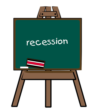 the word recession written on a chalkboard easel Illustration