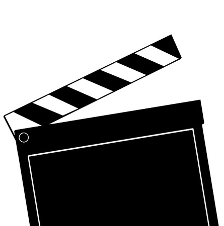 flick: movie clapboard ready to snap down for action