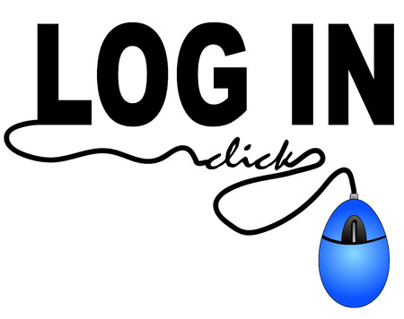logon: mouse connected to the word log in - computer log in Illustration