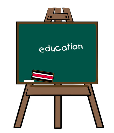 tutoring: chalkboard easel with the word education written on the board