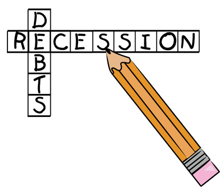 contemplating: pencil filling in crossword with recession and debts