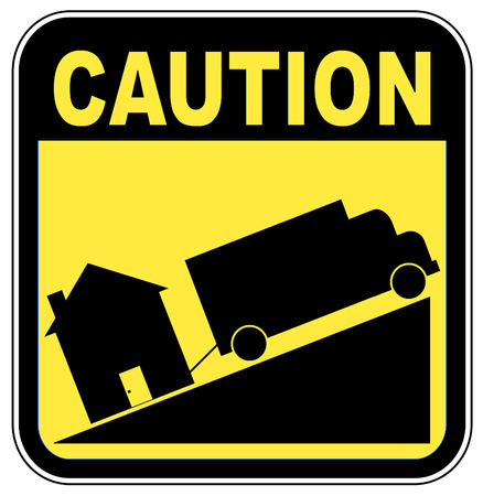 caution sign with truck towing  - crashing  market concept Vector