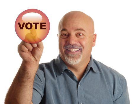 vote: bald man pointing at icon that says vote - PLEASE VOTE