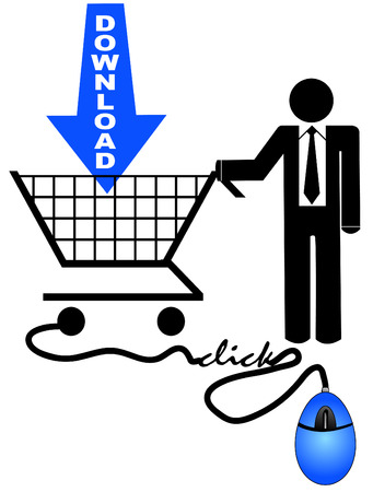 business man shopping or searching online for downloads Stock Vector - 3697896
