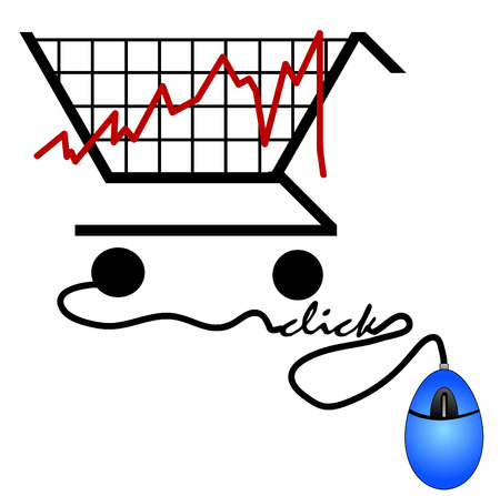 bar graph made out of a shopping cart - trends on the internet Illustration