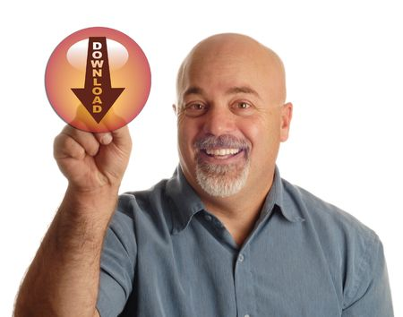 bald man pointing at button that says download photo