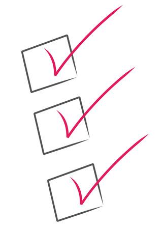 memory board: marcas de verificaci�n de color rojo negro dentro de cajas - lista de verificaci�n Vectores