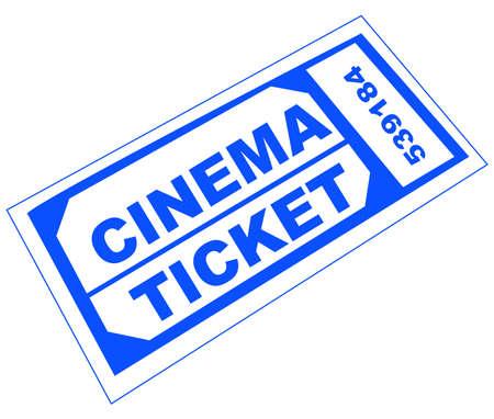 admission: blue numbered cinema admission ticket - illustration