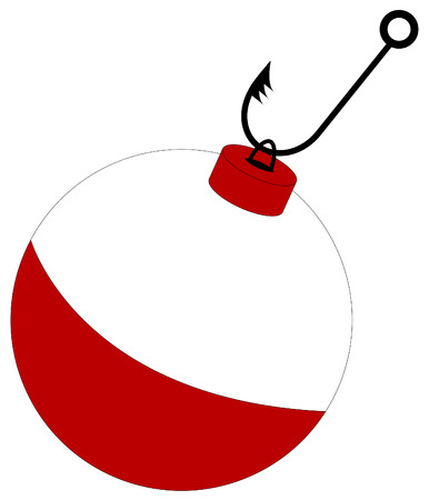 barbed fishing hook attached to red and white bobber Vector