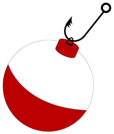 fishing hook: spinato pesca gancio allegata al rosso e bianco bobber Vettoriali