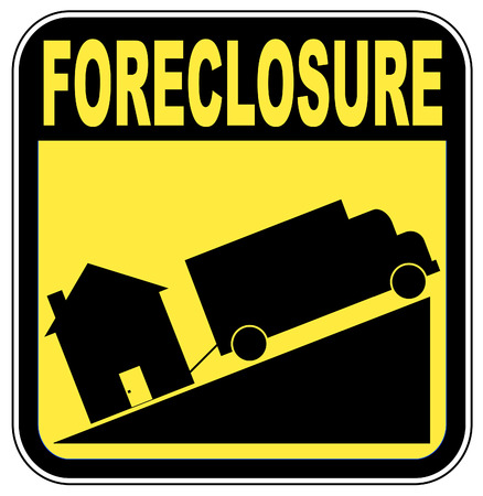 foreclosure sign with truck towing house - crashing house market concept Vector