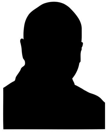 head and shoulders: silhouette of middle age bald man