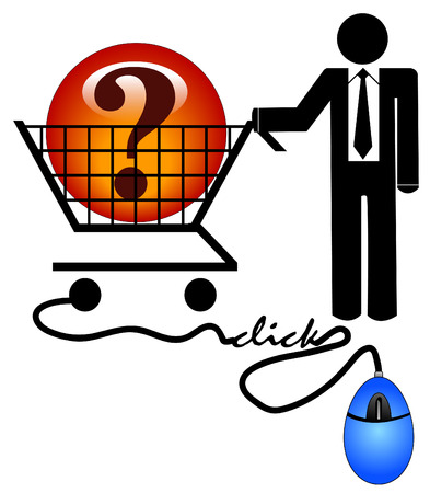 business man with shopping cart looking for solution on the internet Vector