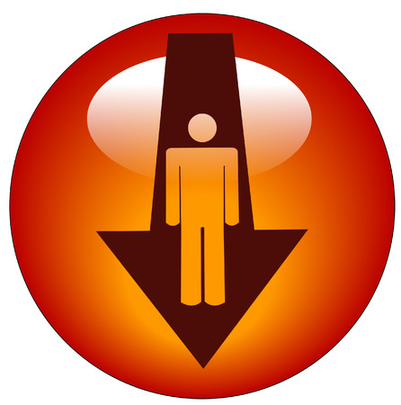 stick figure inside down directional arrow button or icon Vector