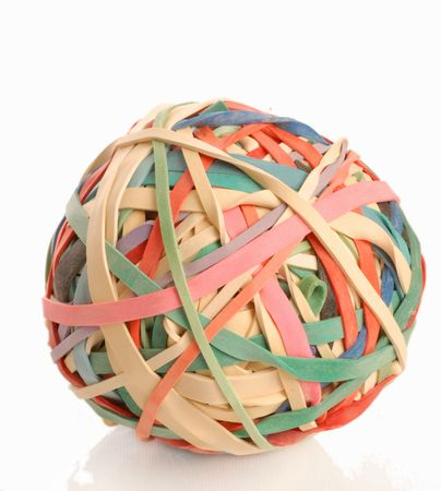 elastic: colorful ball made of elastic bands or rubber bands