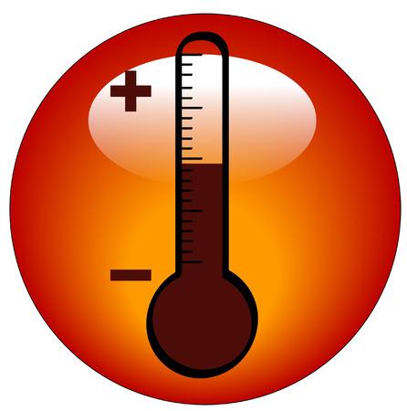 round thermometer icon or button - illustration Illustration
