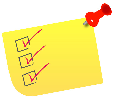 tack: check list on note with red thumb tack Illustration