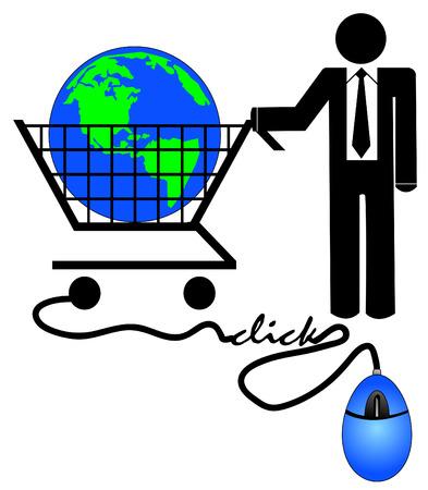 carting: hombre de negocios con las compras carting y rat�n del ordenador - comercio electr�nico