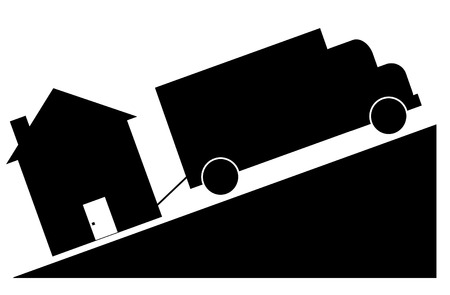moving home: truck towing house - crashing house market concept Illustration