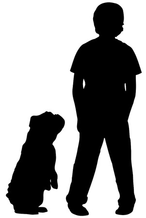 begging: silhouette of boy standing with dog begging at his side