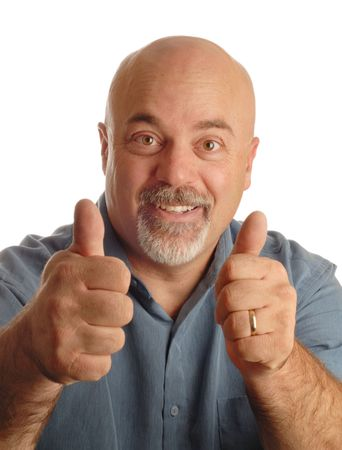 feeling up: middle age bald man giving thumbs up with happy expression