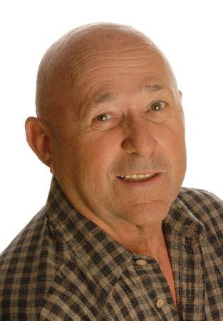 portrait of happy bald senior man isolated on white background Stock Photo - 3755529