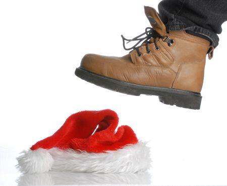 bah: workboot stomping on santa hat - hard times at christmas