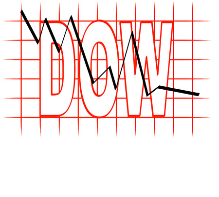 nasdaq: grid graph with the dow going down - illustration