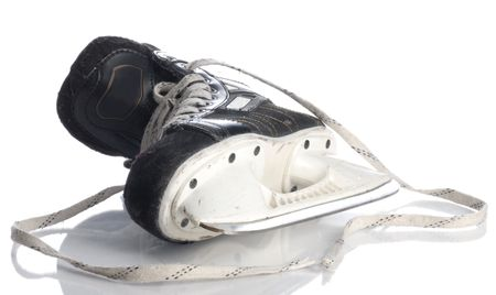 equipment: black mens hockey skate isolated on white background Stock Photo