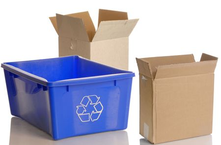 sorting: blue recycle bin and empty cardboard boxes isolated on white background Stock Photo
