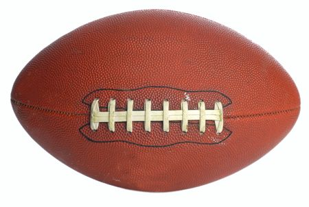 gridiron: brown leather laced football isolated on white background