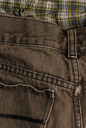 ungeliebt: schwarz Denim Jeans mit Schottenkaro Boxer mit an der Spitze