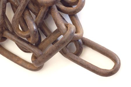 rusty chain: pile of rusty chain links on white background