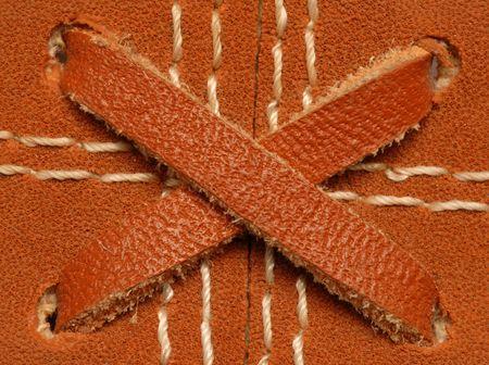 mitt: close of details on a leather baseball glove or mitt