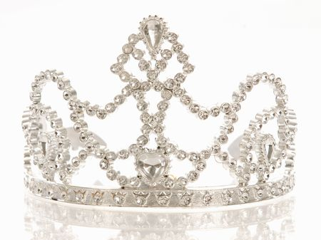 crown background: crown or tiara isolated on a white background with reflection Stock Photo